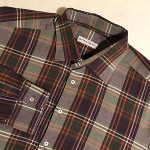 Men's Etro Plaid Long Sleeve Button Shirt (Size 42